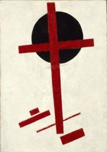 Suprematisme mystique (croix rouge sur cercle noir),1920-1922