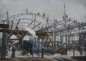 Bouw Centraal Station Utrecht, fotograaf onbekend, 1894, collectie Spoorwegmuseum