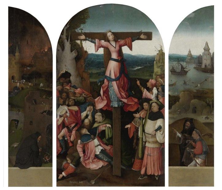 Ste-Wilgeforte,triptyqjue. Gallerie dell'Accademia, Venise. Le scan a montré que la femme - crucifiée parce qu'elle  ne voulait pas renoncer au christianisme - portait une barbe, qui joue un rôle dans la légende. Tableau restauré et montré à boschproject.org.