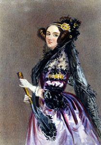 Ada, née Byron, comtesse de Lovelace (1815-1852), mathématicienne, dite « premier programmerur d'ordinateur ». Image Wikipedia.