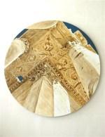 Autour de Baalbek-peinture de Teun van Staveren: 'Plafond du temple de Bachhus' (acryl sur panneau de bois, Ø 98 cm)