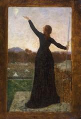 """Pierre Puvis de Chavannes (1824-1898). """"Le Ballon (la Ville de Paris investie, confie à l'air son appel à la France), allégorie à la défense de Paris (1870 - 1871)"""". Huile sur carton. Paris, musée Carnavalet."""