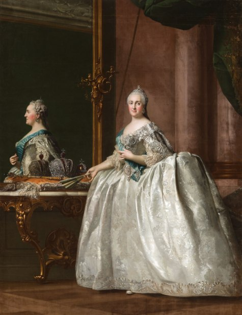 Vigilius Eriksen: Portrait de Catherine II devant un miroir, c. 1763 Huile sur toile. © State Hermitage Museum, St Petersburg