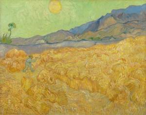 Vincent van Gogh: « Champ de blé avec faucheur », septembre 1889. Dans une lettre, Van Gogh a comparé le faucheur à la mort.