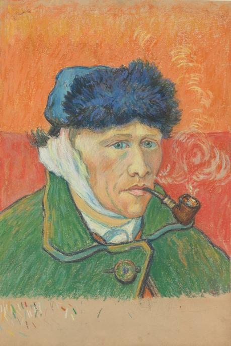 Emile Schuffenecker, « Homme à la pipe ». D'après l'Autoportrait de Vincent van Gogh à l'oreille bandée.